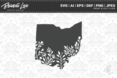 Ohio Floral State Map SVG Cutting Files