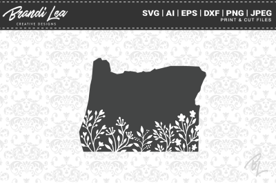 Oregon Floral State Map SVG Cutting Files