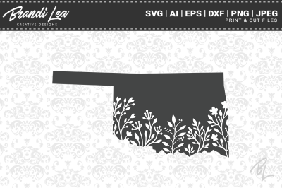 Oklahoma Floral State Map SVG Cutting Files
