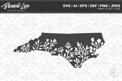 North Carolina Floral State Map SVG Cutting Files