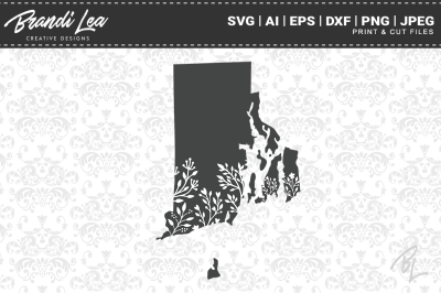 Rhode Island Floral State Map SVG Cutting Files