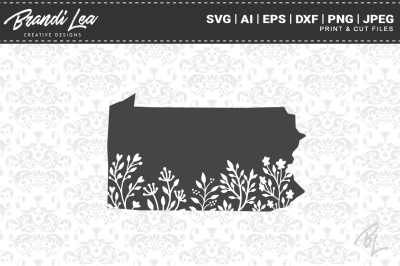 Pennsylvania Floral State Map SVG Cutting Files