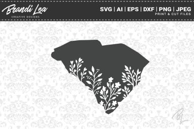 South Carolina Floral State Map SVG Cutting Files