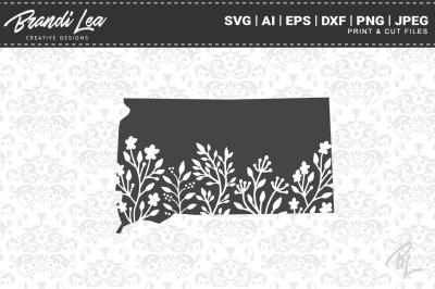 South Dakota Floral State Map SVG Cutting Files