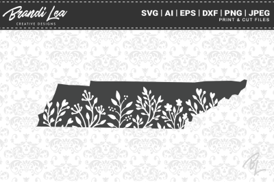 Tennessee Floral State Map SVG Cutting Files