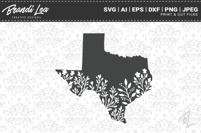 Texas Floral State Map SVG Cutting Files