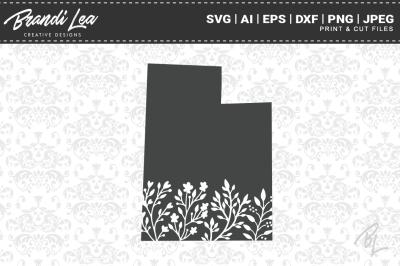 Utah Floral State Map SVG Cutting Files