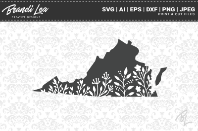 Virginia Floral State Map SVG Cutting Files