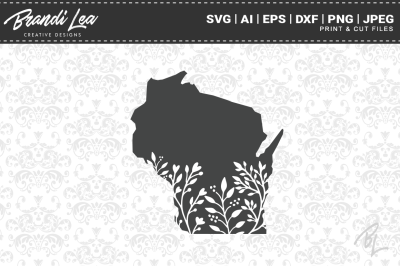 Wisconsin Floral State Map SVG Cutting Files