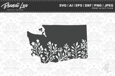 Washington Floral State Map SVG Cutting Files