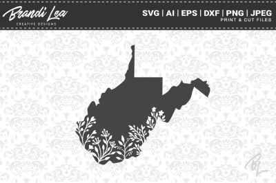 West Virginia Floral State Map SVG Cutting Files