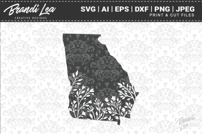 Georgia Floral State Map SVG Cutting Files