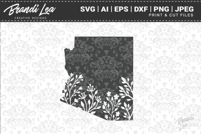 Arizona Floral State Map SVG Cutting Files