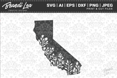 California Floral State Map SVG Cutting Files