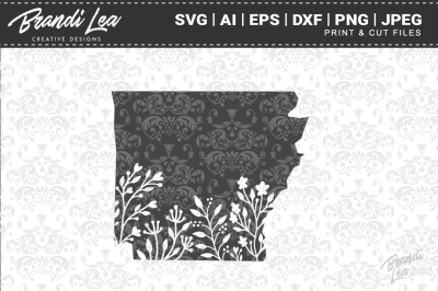 Arkansas Floral State Map SVG Cutting Files