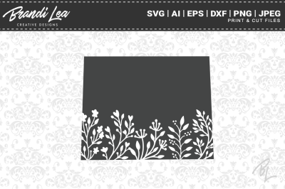 Wyoming Floral State Map SVG Cutting Files
