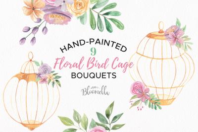 Watercolor Bird Cages Flowers Florals Clipart Set Birdcages Wedding