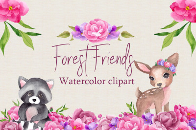 Forest friends. Watercolor clipart