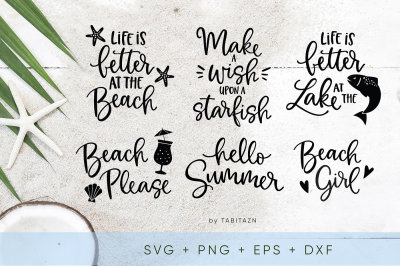 Beach bundle 6 cut files SVG, EPS, PNG, DXF