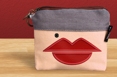Lips and Beauty Mark | Applique Embroidery