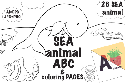 SEA animal ABC & coloring pages