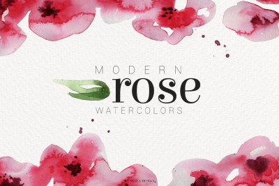 Modern Rose watercolor flowers leaves