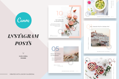 CANVA Food & Travel Instagram Posts - Canva Instagram Post Templates
