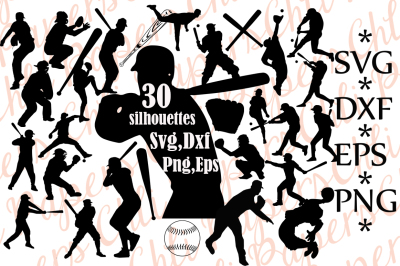 Baseball Silhouette Svg, BASEBALL CLIPART, Baseball player Svg
