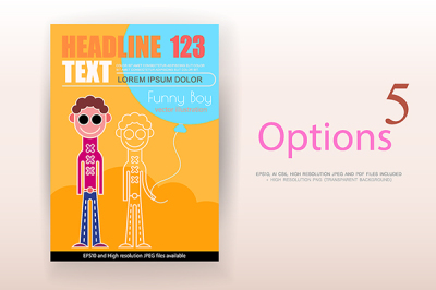 5 options of Funny Boy vector poster design