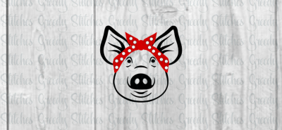 Pig with Bandanna SVG/DXF/EPS/PNG