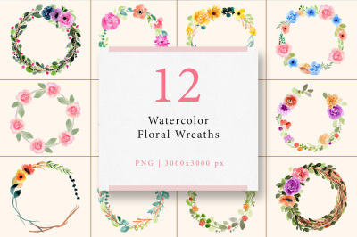 12 Watercolor Floral Wreaths