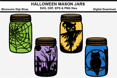 Halloween Mason Jars, SVG, DXF, EPS and PNG files