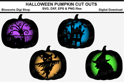 Halloween Pumpkin cut outs, SVG, DXF, EPS & PNG files