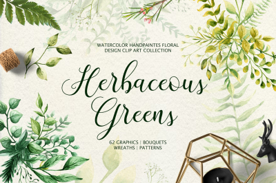 Herbaceous Greens-watercolor set