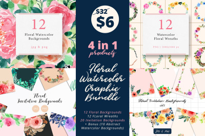 Floral Watercolor Graphic Bundle