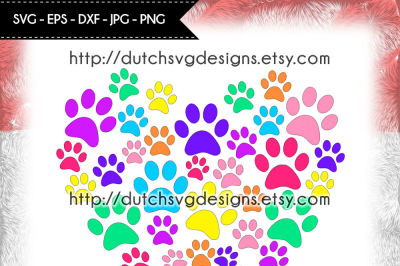 Cutting file pawprints in heart shape, cricut svg, silhouette cut file