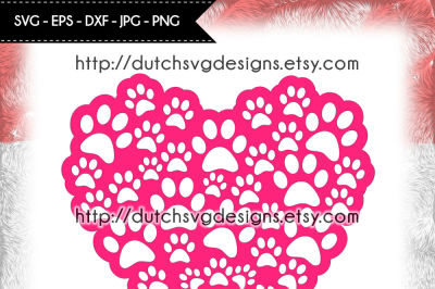 Cutting file pawprints in heart shape, for Cricut & Silhouette