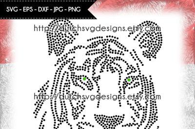 Hotfix rhinestone (SS10) tiger pattern, rhinestone template, tiger svg
