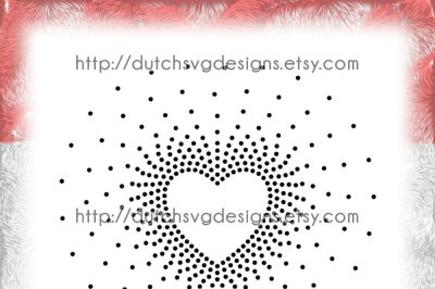 SS16 Hotfix rhinestone heart pattern template, heart svg