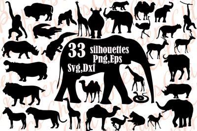 Safri Animals Silhouette Svg,SAFARI ANIMALS CLIPART,African animal
