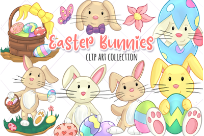 Easter Bunnies Clip Art Collection