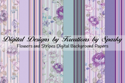 Flowers and Stripes Digital Background Papers