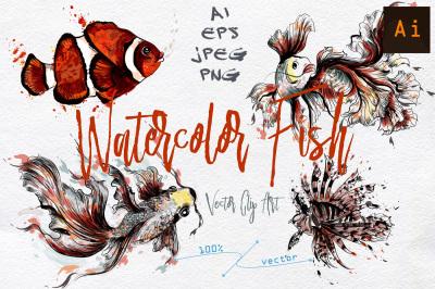 Watercolor fish vector clip art