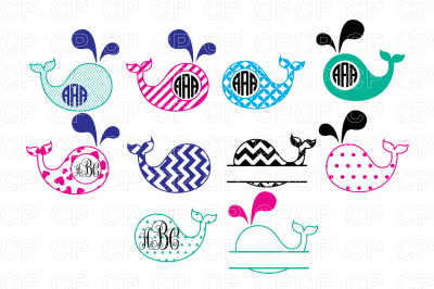 Whale Bundle SVG Cut Files, Whale Clipart