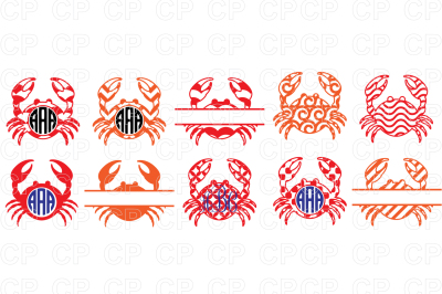 Crab SVG Bundle Cut Files, Crab Clipart