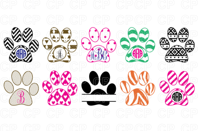 Paw Print Bundle SVG Cut Files, Paw Clipart