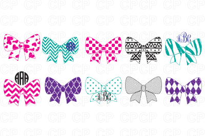Pattern Bow Bundle SVG Cut Files, Pattern Bow Clipart