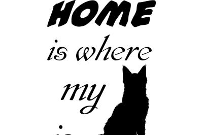 Home is where my cat is SVG DXF EPS PNG