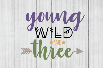 Young Wild and Three SVG, Third Birthday SVG, DXF File, Cuttable File