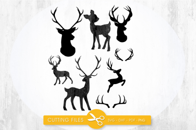 Deer silhouettes SVG, PNG, EPS, DXF, cut file
